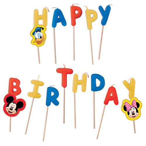 "Image of Disney Mickey Mouse Candles ""Happy Birthday"" Set of 13 Pieces"