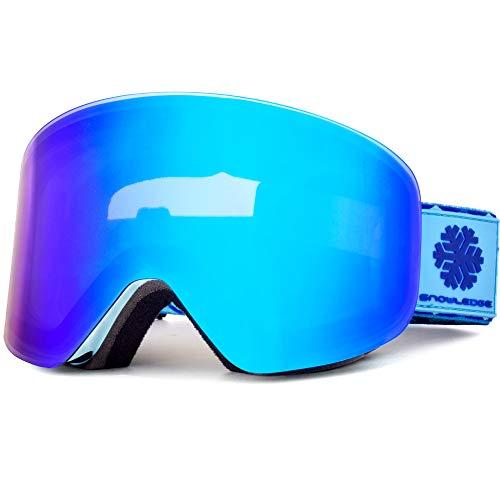 Snowledge Snowboard Brille Rahmenlos, Skibrille Damen & Herren Ski Goggles mit Magnetwechselsystem OTG Design Doppelscheiben Helmkompatibel für Wintersport(Blau)