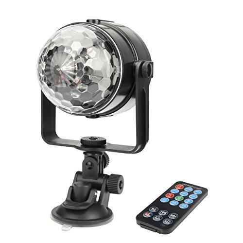 ALED LIGHT LED Lichteffekt Discokugel RGB Stimme Aktiviert Bühnenbeleuchtung Par Licht Kristall Magic Ball Bühnenlicht für Auto DJ Disco Partylicht Weihnachtsparty,3W ,mit USB Kabel[Energieklasse A] (1 Pack Mit Fernbedienung)