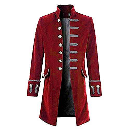 Vertvie Herren Vintage Mantel Herrenjacke Gothische Steampunk Gehrock Jacke (Rot, 3XL)