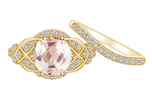 AFFY Verlobungsring aus 14 Karat massivem Gelbgold mit 2,7 Karat künstlichem Morganit und natürlichen Diamanten, Vintage-Stil (Mit Morganit Vintage-ring)