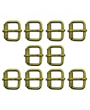 Hand® Satz von 10 antiken Messing Ton Quadrat Metall Schnallen für Gürtel, Schuhe, Stiefel, Taschen & Accessoires - 28 x 22 mm, nimmt einen Gurt bis zu 23 mm breit