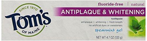 Maine Whitening Zahnpasta (Tom's of Maine, Fluoride-Free Antiplaque & Whitening Toothpaste, Spearmint Gel, 4.7 oz (133 g))