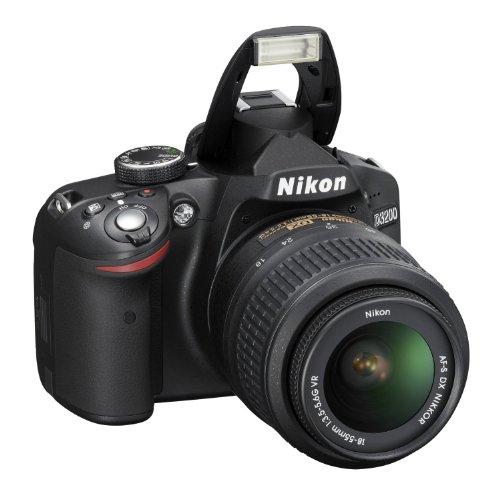 Nikon D3200 24.2MP Digital SLR Camera (Black) with AF-S 18-55mm VR Kit Lens, 8GB Card, Camera Bag