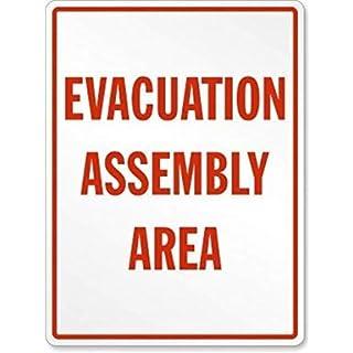 Vivityobert Evakuation Assembly Area, Metall-Warnschilder, lustiges Design, Aluminium-Hinweisschild, Heimdekoration, Hof, 20,3 x 30,5 cm