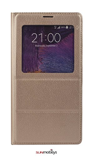 Sun Mobisys Samsung Galaxy Note 4 Flip Cover; Premium Faux Leather For Allround Protection Phone Case- Champagne Gold  available at amazon for Rs.199