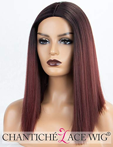Chantiche Wine Red Bob Synthetic Wig with Dark Roots Middle Part Mix Burgundy Ombre Wigs for Women #99j Bob Wigs Heat Resistant -