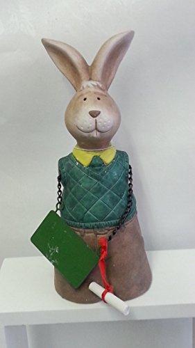 Deko Hase Hasenfigur Student aus Keramik, Zaunhocker, 25 cm