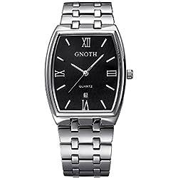 GNOTH Unisex Black Minimalist Rectangular Watch with Date Roman Numeral Big Face