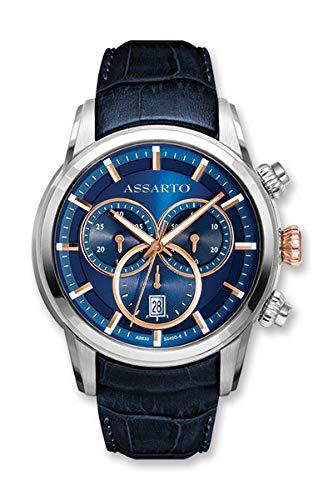 ASSARTO® Watches ASH-9830TR/S-BLU Edelstahl Chronograph, Uhr/Armbanduhr für Herren mit Echtlederarmband und Schweizer Uhrwerk