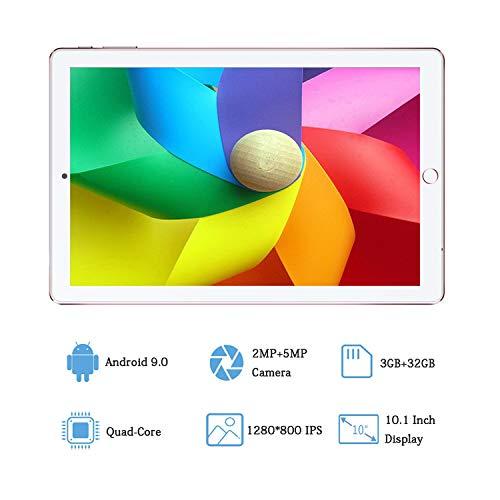 Tablet 10.1 Pulgadas Android 9.0 Dobles SIM 4G LTE 32 GB de Memoria 3GB de RAM Tableta Procesador Quad- Core y Doble Cámara,  GPS Bluetooth WiFi Soporte (Rojo)