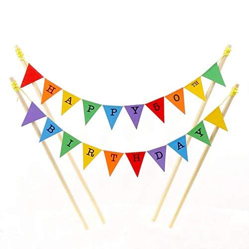 amazing buntings, Happy 50th Birthday, Geburtstag Kuchentopper, Regenbogenfarben, Einstellbare Länge, Hochwertige Handgefertigte Dekoration, 107 (50th Birthday-dekorationen Happy)