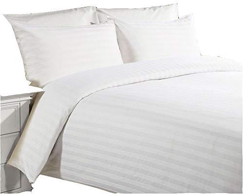 Original sleep company copripiumino con motivo a strisce, satinato, stile hotel di lusso 5 stelle, in cotone 100%, colore: bianco (doppio)
