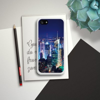 Apple iPhone 5s Housse Étui Protection Coque Ville Horizon Grande ville Housse en silicone blanc