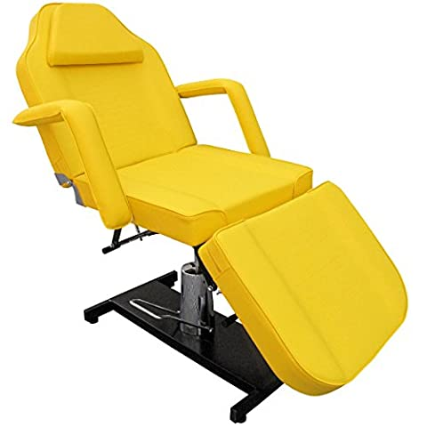 eyepower professional stationary Massage Table with face hole 185cm | 3 Section beauty therapy tattoo spa Reclining Couch Bed | metal frame thick upholstered | supported weight 250kg | rotates 360° | removable armrests | Black Yellow