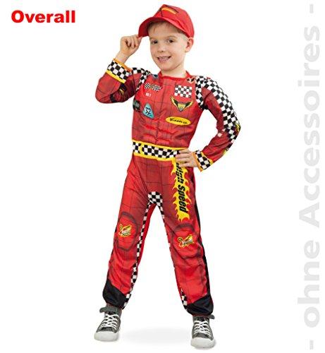 "Preisvergleich Produktbild ""Rennfahrer"", Kinderkostüm, Kinder-Outfit, rot-gelb, Overall, Ganzkörper-Anzug Rennfahrer Rallye Formel 1 (116)"