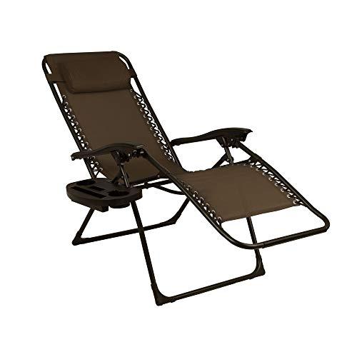 Zero Gravity Lounge Set mit 2 Stühlen mit Neigeflecht für den Außenbereich mit Getränkehaltern, verstellbare Liegefläche mit Kopfkissen, zusammenklappbar, Grün/Braun von SDENTE braun - Outdoor Chaise Lounge-set