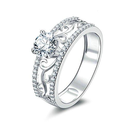 (Custom Ringe)Adisaer Ring 925 Sterling Silber Damen Kreis Kristall Hohl CZ Linie Strass Muster Verlobungsring Größe 52 (16.6) Kostenlos Gravur (Pharao Kostüm Muster)