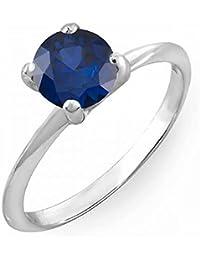 Plata de Ley 7 Mm Corte Redondo Azul Zafiro, solitario anillo de compromiso nupcial