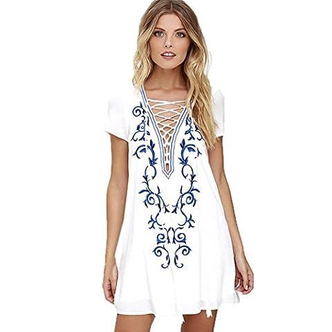 Women Dresses, Manadlian 2017 New Women Vintage Ethnic Embroidered Hippie Floral Strap Dress Loose Casual Short Sleeve Fashion Mini Dress (XL, White)