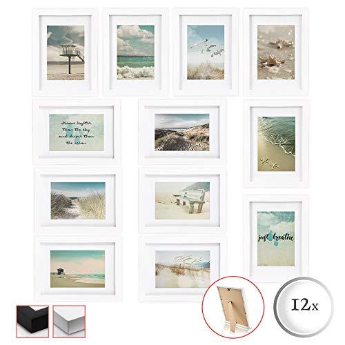 bomoe 12er Set Bilderrahmen Ocean Bilder-Collagen Fotorahmen aus Holz, Plexiglas, Metall-Wandaufhängung, Stand-Aufsteller und Passepartout - 12 Holzrahmen á 13x18cm - Weiß