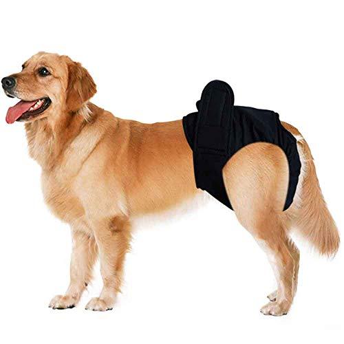 Smniao Hundewindeln für Hündinnen und Rüden Hygieneunterhose Groß Haustier Weibliche Windel Schutzhose Unterwäsche Hunde Bauchgürtel (XL, Schwarz)