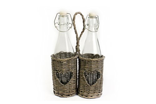 2x Retro Stil, Glas Flaschen mit Swing Top-in natürlichen Wicker Flasche Halter-Ideal für perfekt Alkoholgehalt Leitungswasser