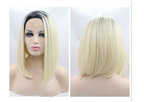 Haute Qualité Blond Bob perruque avec racines aspect naturel foncé court Bob droite perruques Lace Front synthétique résistant à la chaleur fibre cheveux