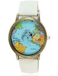 Moda mujeres hombres vintage tierra mundo mapa Reloj Denim Tela Muñeca relojes blanco