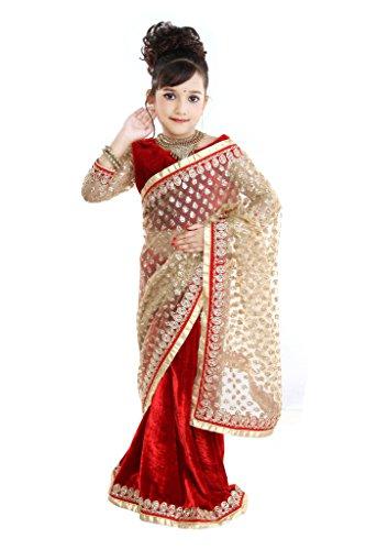 Pratima Girl's Fashionable Half Velvet Half Glitter Net Red Ready to wear...