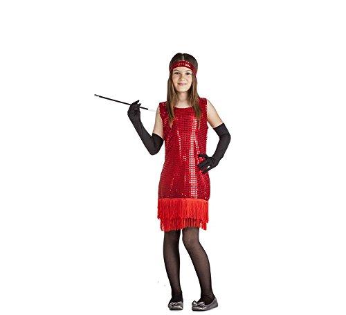 Imagen de disfraz de charlestón rojo con flecos para niña