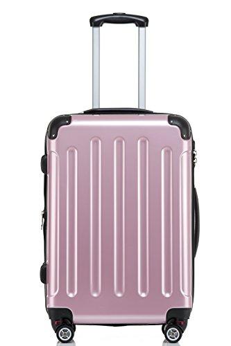 BEIBYE Zwillingsrollen 2048 Hartschale Trolley Koffer Reisekoffer in M-L-XL-Set in 17 Farben ROSA