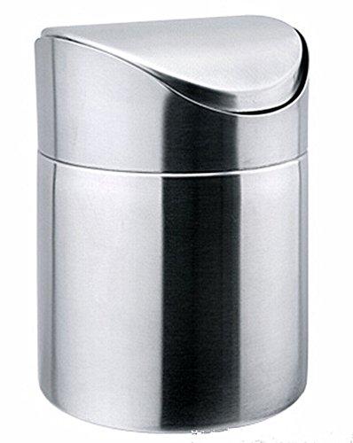 dingdangbell Mini Tavolo Pattumiera Pattumiera acciaio INOX Garbage Bin cestino with Altalena per la cucina bagno ufficio uso piccolo piano 15 L