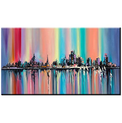 Moderno Pintura al óleo Abstracta sobre Lienzo Brillante Ciudad del Arco Iris Pintura de la Pared de la Sala de Arte Decorativo Imagen, 40x80 cm