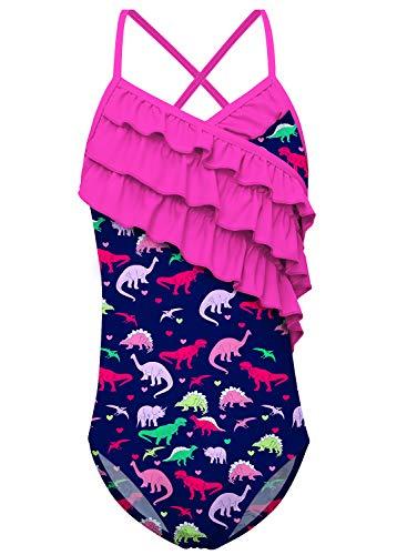 Funnycokid Mädchen Dinosaurier One Piece Tankini Badeanzug Beach Rüsche Bademode Bathing Suit 7-8 T (Für Mädchen Dinosaurier,)