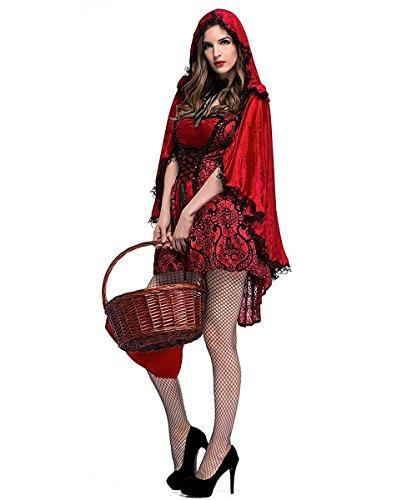 Imagen de disfraz caperucita roja gótico mujer vestido de fiesta para halloween carnaval actuación con capa de lalaareal  large  alternativa