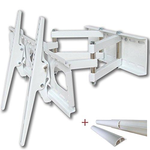 Support TV mural (Blanc) pivotant, Double Bras pour écran LCD LED Plasma jusqu'à 140 cm (55 pouces, VESA 200x200 à 660X400 mm, Distance du mur 12 cm - 47 cm