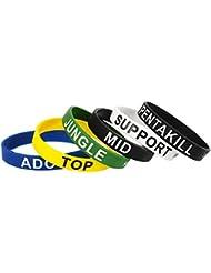 Lot de 6–LOL League of Legends Dessus en caoutchouc bracelet en silicone Jungle ADC Mid Support coloré Bracelet Unisexe
