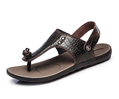 Véritable Crocodile en cuir pour hommes Tongs Plage 1