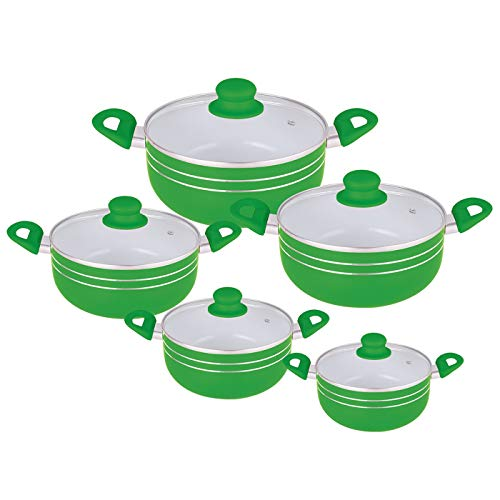 Ricco Kasserollen-Set mit Deckel, Keramikbeschichtung, Schwarz / Grün / Violett / Rot, 5-teilig grün
