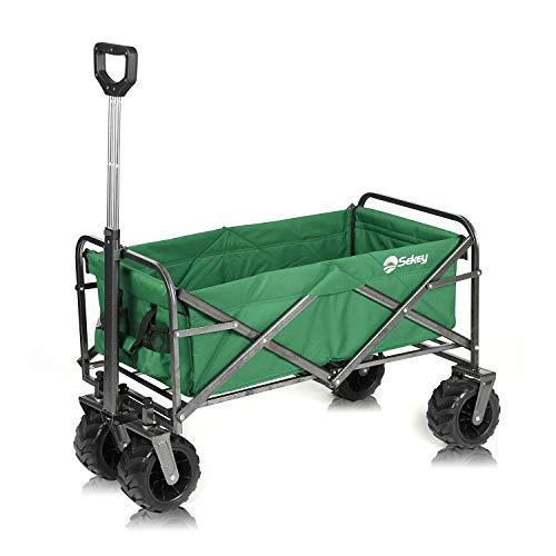 Sekey Charrette de Transport Pliable Chariot de Transport Jardin Chariot de Plage Tout Terrain Brouette extérieure Panier Chariot Remorque de Jardin extérieur, Vert