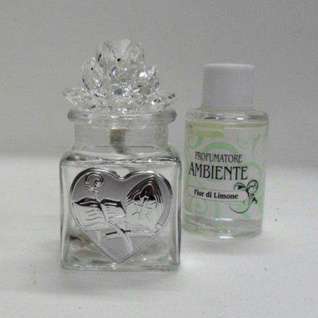 Bomboniere profumatore per cresima con fiore in cristallo e piastra