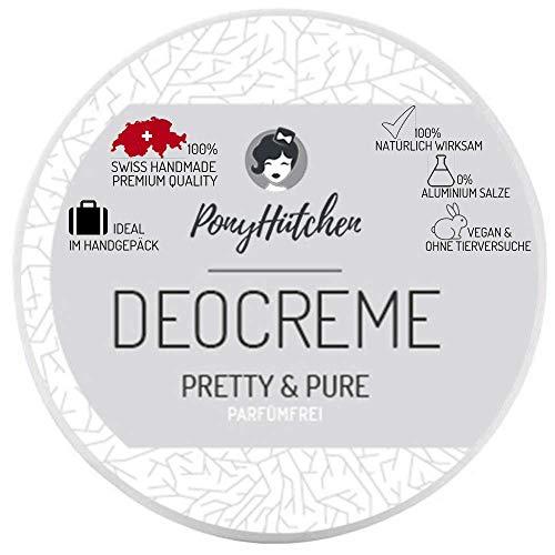 PonyHütchen Naturkosmetik Deo Creme Pretty Und Pure / PARFÜMFREI / Unisex / Natürliche Wirkung / Ohne Aluminiumsalze / 50 ml / Natürliches Deodorant / Vegan / BIO Deocreme -
