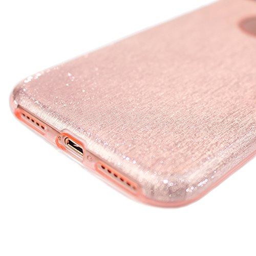 Cover per iPhone 8, Shiny Series CLTPY iPhone 7 Custodia [3 in 1] Copertura Esterna del Silicone Molle di Lusso + Bling Silver Glitter Paper + Copertura Interna Trasparente di Plastica Dura per Apple  Rosa