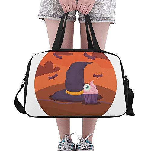 Yushg Hexe Hut Design Halloween benutzerdefinierte große Yoga Gym Totes Fitness Handtaschen Reise Seesäcke mit Schultergurt Schuhbeutel für die Übung Sport Gepäck für Mädchen Mens Womens - Halloween Hobo Kostüm