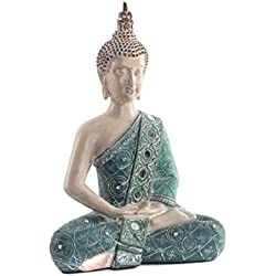 Dcasa - Figura buda de suerte sentado resina turquesa 31 cm decoracion