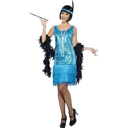 Flirty Flapper Kostüm Türkis mit Kleid Kopfschmuck und Halskette, (Kleid Amazon Kostüm Flapper)