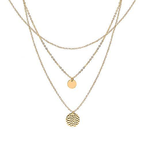 WikiMiu Kette Damen, Halskette Choker Mehrreihige Kette mit Kreis Anhänger, Einfacher Stil Modeschmuck für Frauen (Gold)