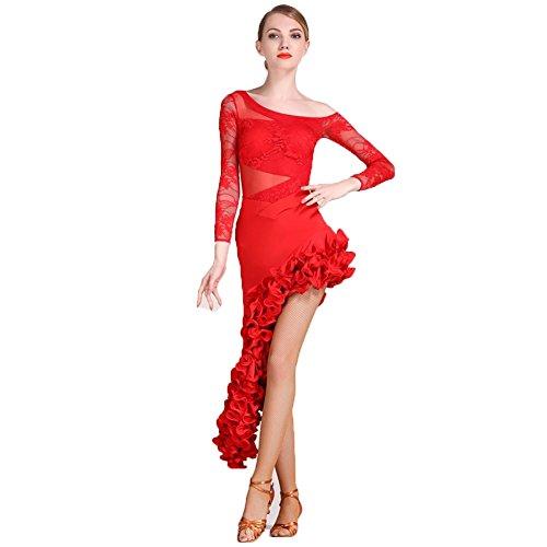 (Wangmei Latin Dance Outfits Damen Training/Leistung Tanz Cosetume Spitze/Tüll Drapiert Long Sleeve Top/Latintanz Rock, Red, S)