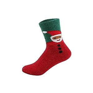 FRAUIT Weihnachtssocken, Weihnachten Familiensocken Festliche Socken Cartoon-Muster Santa Claus Socken Weihnachtsgeschenk Baumwollsocken mit Exquisite Geschenkbox & Geschenktüte